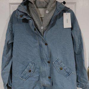 NEW Denim Jacket with Sweatshirt Hoodie Lining